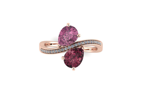 Birthstone Bypass Ring, Rhodolite Garnet and Pink Tourmaline