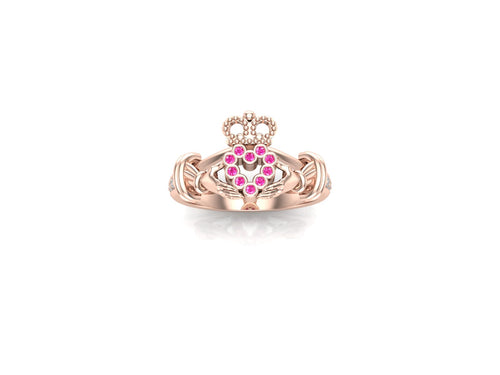 Claddagh Ring 18k Rose Gold With Pink and White Sapphires