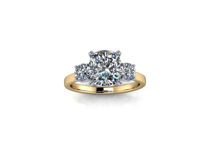 Meghan Markle Trilogy Ring Large Cushion Cut Forever One Moissanite in Platinum and Gold