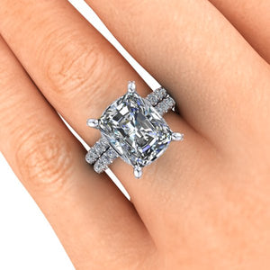 Radiant Cut Moissanite Engagement Ring Lab Created Diamonds