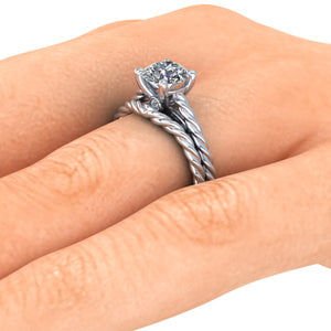 Twisted Rope Solitaire,1 Carat Round Cut ,Moissanite, Recycled Palladium, Diamonds