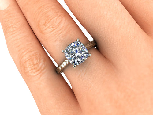 Twisted Rope Engagement Ring Cushion Cut Moissanite Engagement Ring