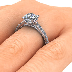 2 Carat Round Cut Forever One Moissanite Vintage Inspired Engagement Ring