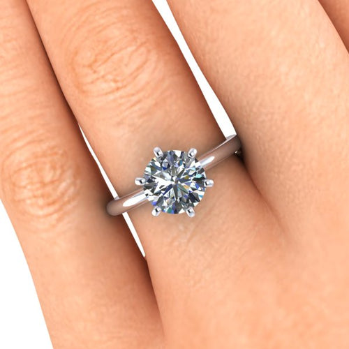 Classic Tiffany Style Setting, Solitaire Engagement Ring, 1.50 Carats Round Cut Moissanite