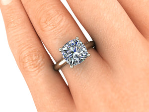 Solitaire Engagement Ring, 2.98 Carat Cushion Cut Forever One Moissanite