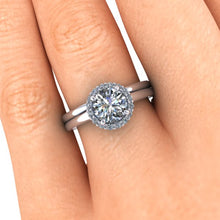Round Cut Halo Style Moissanite Engagement Ring, Ethical Diamonds, Recycled White Gold