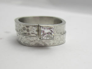 Princess Cut Moissanite Bridal Set, Recycled White Gold