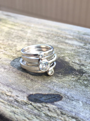 5 Stacking Rings 14k Recycled White Gold Moissanite