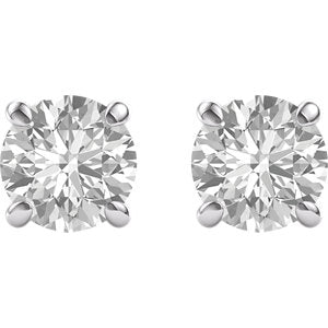 Stud Earrings Recycled White Gold 3.75 Carats Forever One Moissanite
