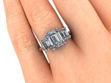 Two Tone Trilogy Forever One Moissanite Engagement Ring Platinum and 18k Rose Gold