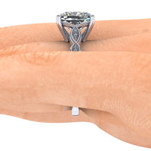 Vintage Inspired Engagement Ring, Elongated Cushion Cut Harro Moissanite, 3.4 Carats
