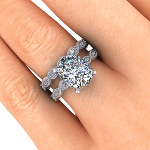 Vintage Inspired Engagement Ring, Elongated Cushion Cut Moissanite, 3.4 Carats
