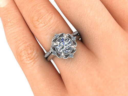 Vintage Inspired NEO Moissanite Bridal Set in Recycled Palladium with Lab Grown Diamonds
