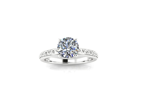 Vintage Inspired Engagement Ring 1 Carat Round Cut NEO Moissanite 14k White Gold