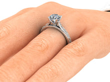 Vintage Inspired Engagement Ring 1 Carat Round Cut Moissanite 14k White Gold
