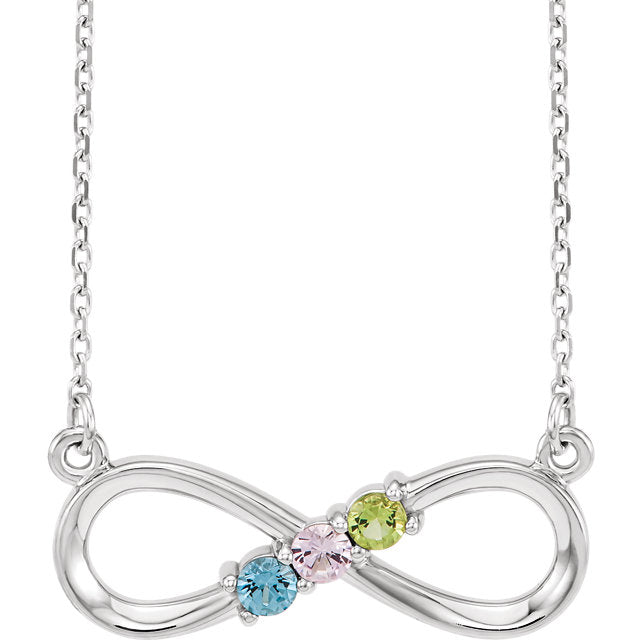 White Gold Birthstone Infinity Pendant Mothers Infinity Necklace