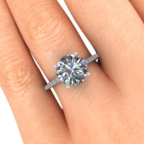 3 Carat Round Cut Moissanite Engagement Ring