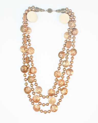 fb03d46bdd5b4 Triple strand Pearl & Mother-of-Pearl Necklace