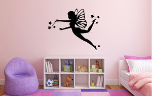 "Fairy Wall Decal - 27"" x 34"" Fairy Silhouette Vinyl Decal - Fairy 3"