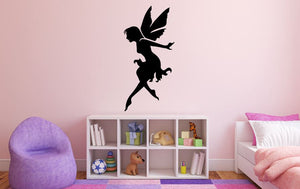 "Fairy Wall Decal - 35"" x 17"" Fairy Silhouette Vinyl Decal - Fairy 7"