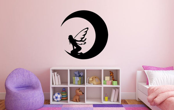 "Fairy Wall Decal - 28"" x 27"" Fairy Silhouette Vinyl Decal - Fairy 15"