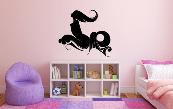 "Mermaid Wall Decal - 27"" x 30"" Mermaid Silhouette Vinyl Decal - Mermaid 15"