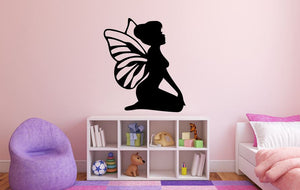 "Fairy Wall Decal - 31"" x 27"" Fairy Silhouette Vinyl Decal - Fairy 13"