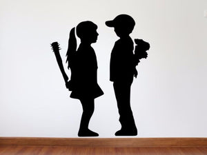Banksy Wall Decal, Girl Meets Boy Inspired Removable Wall Decal