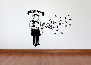 Banksy Wall Decal, Gas Mask Girl Inspired Removable Wall Decal