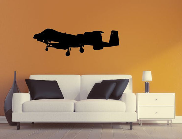 Military Plane Wall Decal - A10 Thunderbolt Wall Silhouette Sticker - Airplane 2