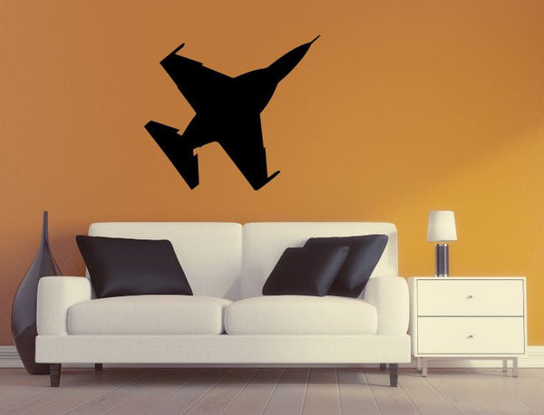 Military Plane Wall Decal - F16 Fighting Falcon Wall Silhouette Sticker - Airplane 6