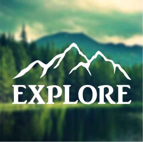 Decal - Explore - Mountains Decal, Car Decal, Laptop Decal, Macbook Decal, Ipad Decal