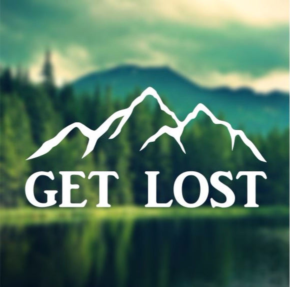 Decal - Get Lost - Mountians Decal, Car Decal, Laptop Decal, Macbook Decal, Ipad Decal