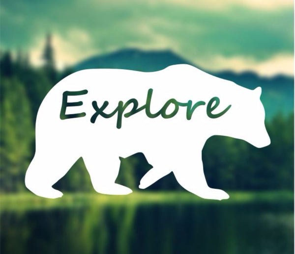 Decal - Explore - Bear Decal, Car Decal, Laptop Decal, Macbook Decal, Ipad Decal
