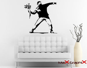 "Banksy Wall Decal, 27"" x 28"" Molotov Guy Inspired Removable Wall Decal"