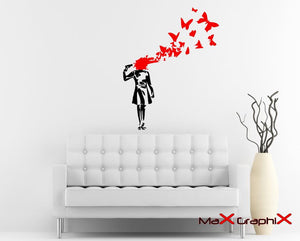 Banksy Wall Decal, Suicide Butterflies Inspired Removable Wall Decal *** Please read description for size