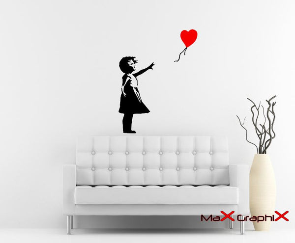 Banksy Wall Decal, Balloon Girl Inspired Removable Wall Decal