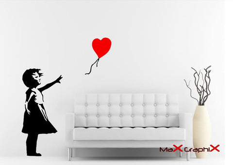 "Banksy Wall Decal, 33""h x 15""w Balloon Girl Inspired Removable Wall Decal"