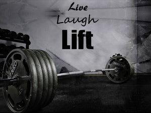 "Home Gym Wall Decor - 29"" x 27"" Motivational ""Live, Laugh, Lift"" Wall Decal"