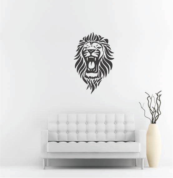 "Lion Head Wall Decal - 42"" x 27"" Lion Head Vinyl Wall Decal L11"