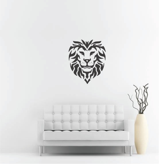 "Lion Head Wall Decal - 32"" x 27"" Lion Head Vinyl Wall Decal L3"
