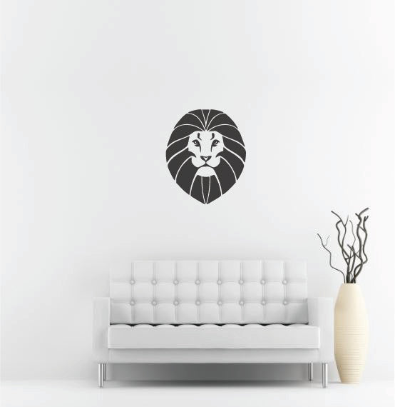 "Lion Head Wall Decal - 32"" x 27"" Lion Head Vinyl Wall Decal L4"