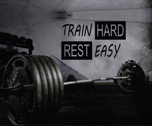 Fitness Motivation Home Gym Wall Decal - Train Hard Rest Easy Wall Decal