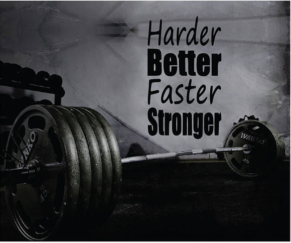 Fitness Motivation Home Gym Wall Decal - Harder Better Faster Stronger Wall Decal