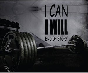 Fitness Motivation Home Gym Wall Decal - I Can I Will Wall Decal
