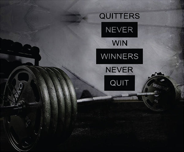 Fitness Motivation Gym Wall Decal - Quitters Never Win Winners Never Quit Decal