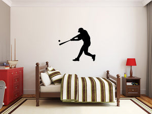 "Baseball Player Wall Decal - 29"" x 27"" Baseball Player Silhouette Vinyl Decal - Baseball Player 1"