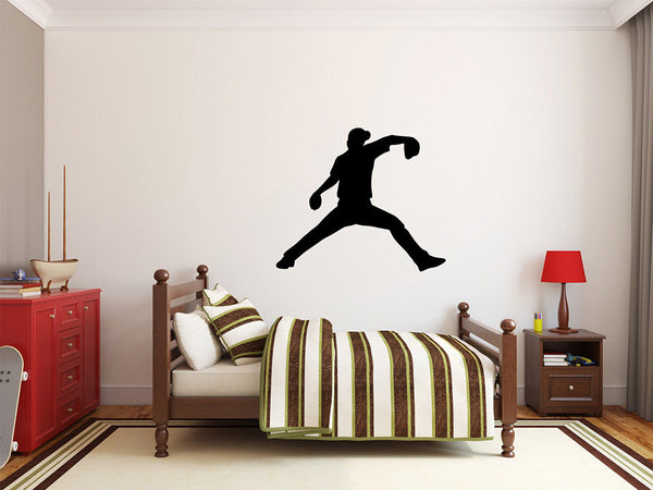 "Baseball Player Wall Decal - 27"" x 32"" Baseball Player Silhouette Vinyl Decal - Baseball Player 7"