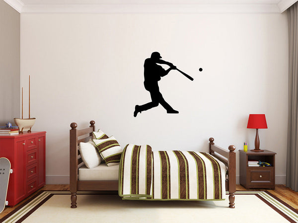 "Baseball Player Wall Decal - 27"" x 28"" Baseball Player Silhouette Vinyl Decal - Baseball Player 11"