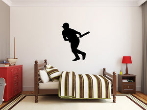 "Baseball Player Wall Decal - 37"" x 27"" Baseball Player Silhouette Vinyl Decal - Baseball Player 15"
